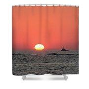 Fishing Boat At Sunrise Shower Curtain