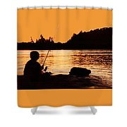 Fishing From A Rock  Shower Curtain