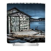 Fishing Shack And Wharf In Norris Point, Newfoundland Shower Curtain