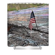 Flag In A Crack In The Pavement Shower Curtain