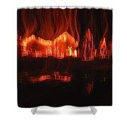 Flaming Houses Lights Water Reflection Christmas Arizona City Arizona 2005 Shower Curtain