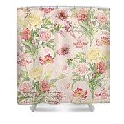 Fleurs De Pivoine - Watercolor W Butterflies In A French Vintage Wallpaper Style Shower Curtain