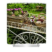 Flower Cart In Garden Shower Curtain by Elena Elisseeva