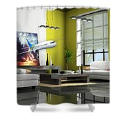 Fly The Friendly Skies Art Shower Curtain