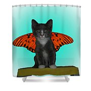 Flying Kitty Shower Curtain