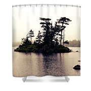 Fog Setting In On The Lake Shower Curtain