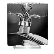 Ford Winged Hood Ornament Black And White Shower Curtain