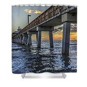 Fort Myers Beach Fishing Pier Shower Curtain by Edward Fielding