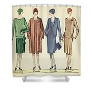 Four Flappers Modelling French Designer Outfits, 1928  Shower Curtain