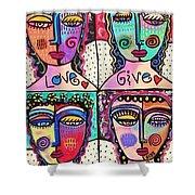 Four Gemstone Angels  Shower Curtain by Sandra Silberzweig