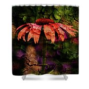 Fragmented Echinacea Shower Curtain