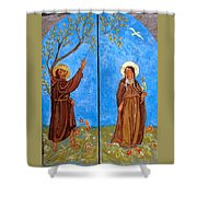 Francis And Claire Triptych Shower Curtain