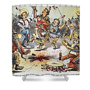 Free Silver Cartoon, 1896 Shower Curtain