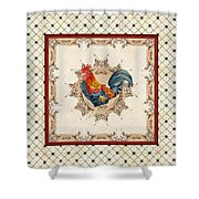 French Country Roosters Quartet Cream 2 Shower Curtain