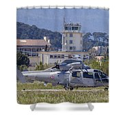French Navy As565 Panther Helicopter Shower Curtain