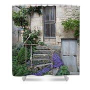 French Staircase With Flowers Shower Curtain