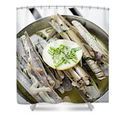 Fresh Razor Shell Seafood Steamed In Garlic Herb Wine Sauce Shower Curtain