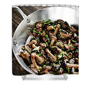 Fried Shiitake Mushrooms In Garlic Herb And Olive Oil Snack Shower Curtain