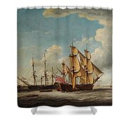 Frigates Receiving Their Captains Shower Curtain