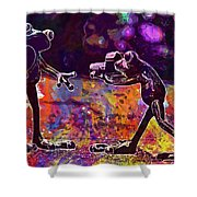 Frogs Love Valentine S Day Pose  Shower Curtain
