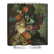 Fruit Flowers And A Fish Shower Curtain