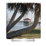 Gazebo Dock Framed By Leaning Palms Shower Curtain