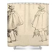 Gentleman In Large Mantle, Seen From Behind Shower Curtain