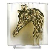 Giraffe Contemplation Shower Curtain