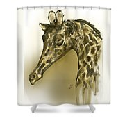 Giraffe Contemplation Shower Curtain
