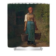 Girl Carrying Water Shower Curtain