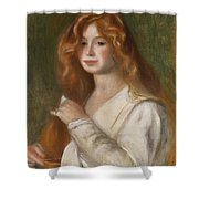 Girl Combing Her Hair Shower Curtain by Pierre Auguste Renoir