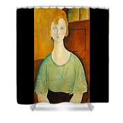 Girl In A Green Blouse Shower Curtain