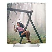 Girl In Swing Shower Curtain