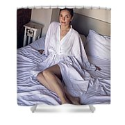 girl in the Bathrobe lying Shower Curtain