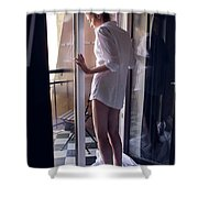 Girl In The Shirt Stands At The Balcony In The Morning Shower Curtain