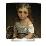 Girl With Basket Of Plums Shower Curtain