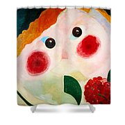 Girl With Ranunculus Shower Curtain