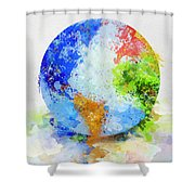 Globe Painting Shower Curtain by Setsiri Silapasuwanchai