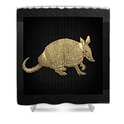 Gold Armadillo On Black Canvas Shower Curtain