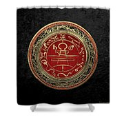 Gold Seal Of Solomon - Lesser Key Of Solomon On Black Velvet  Shower Curtain