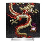 Golden Chinese Dragon Fucanglong  Shower Curtain