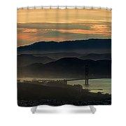 Golden Gate Bridge And San Francisco Bay At Sunset Shower Curtain