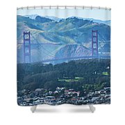 Golden Gate Bridge View From Twin Peaks San Francisco Shower Curtain