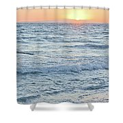 Golden Sunset And Ocean Horizon Shower Curtain