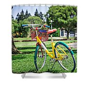 Google Bike Parked Near Googleplex Facility Park Shower Curtain