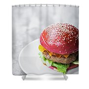 Gourmet Novelty Chicken Burger In Beetroot Bun Shower Curtain