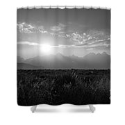 Grand Teton Hazy Sunset  Shower Curtain