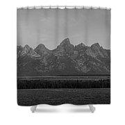 Grand Teton Mountain Range At Sunrise Panorama Shower Curtain