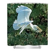 Great Egret With Fish Shower Curtain