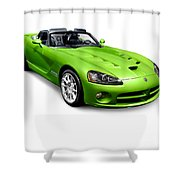 Green 2008 Dodge Viper Srt10 Roadster Shower Curtain